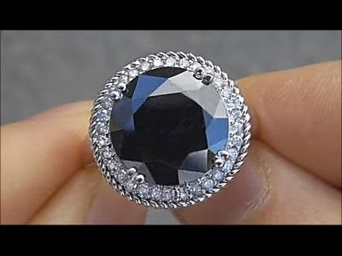 Rare Gia Certified Huge Black Diamond Engagement Ring