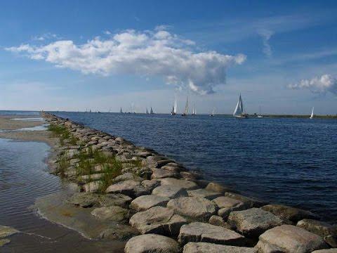 Estonia Parnu - river; port and breakwater