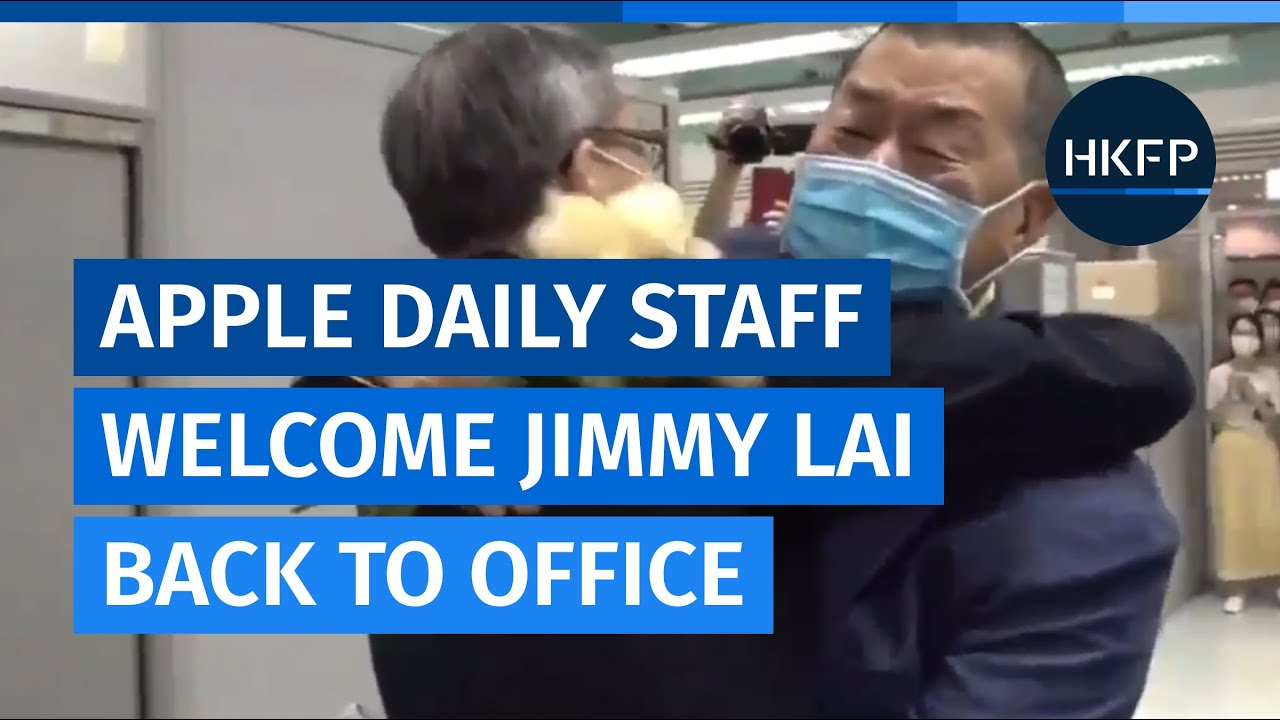 Bailed Hong Kong media tycoon Jimmy Lai tells Apple Daily staff to 'fight on'