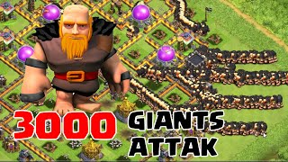 Clash of Clans - 3000 Maxed Giants Raid (Massive Clash of Clans Game Play)