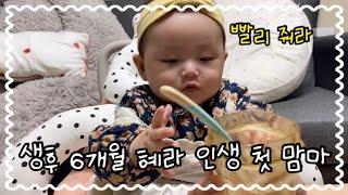 23살 아기 아빠 생후 6개월 된 혜라 첫 이유식 먹이…