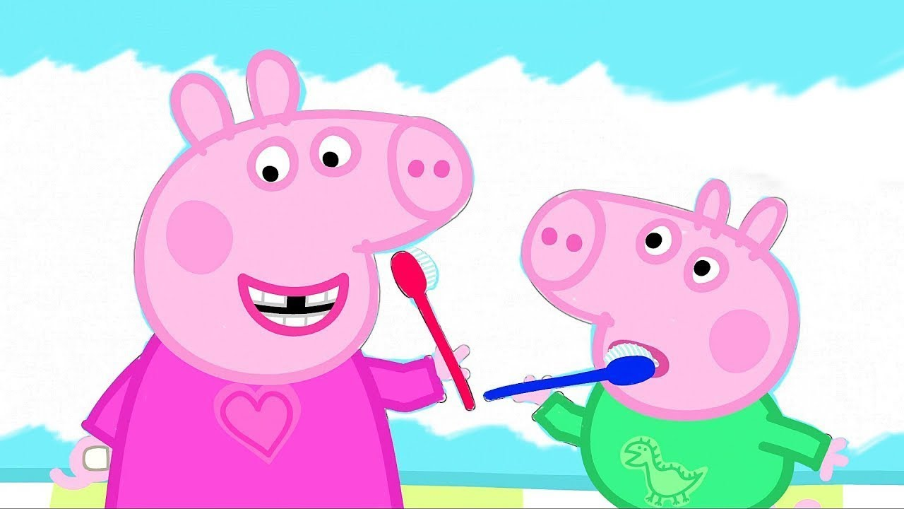 Раскрашиваем Свинка Пеппа и Джордж Чистят Зубы Волшебная ...