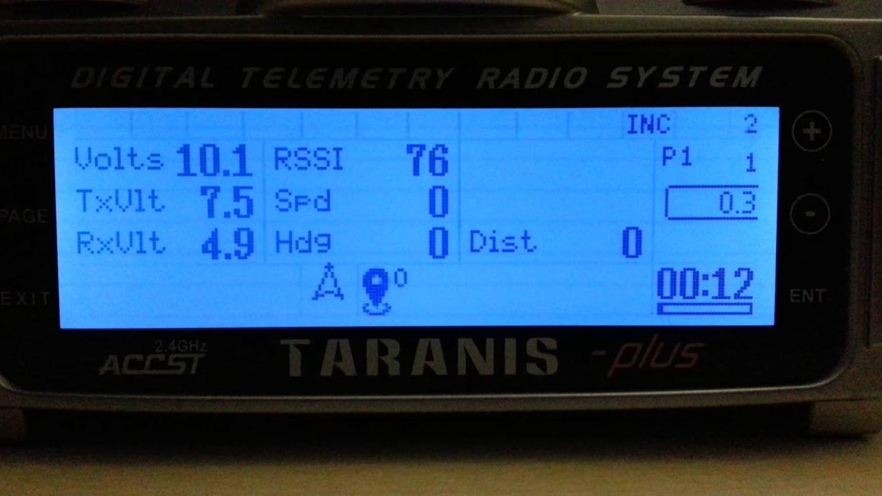 Axys' LUA CleanFlight Telemetry Script running on Taranis