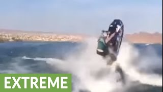 Crazy double backflip on jet ski