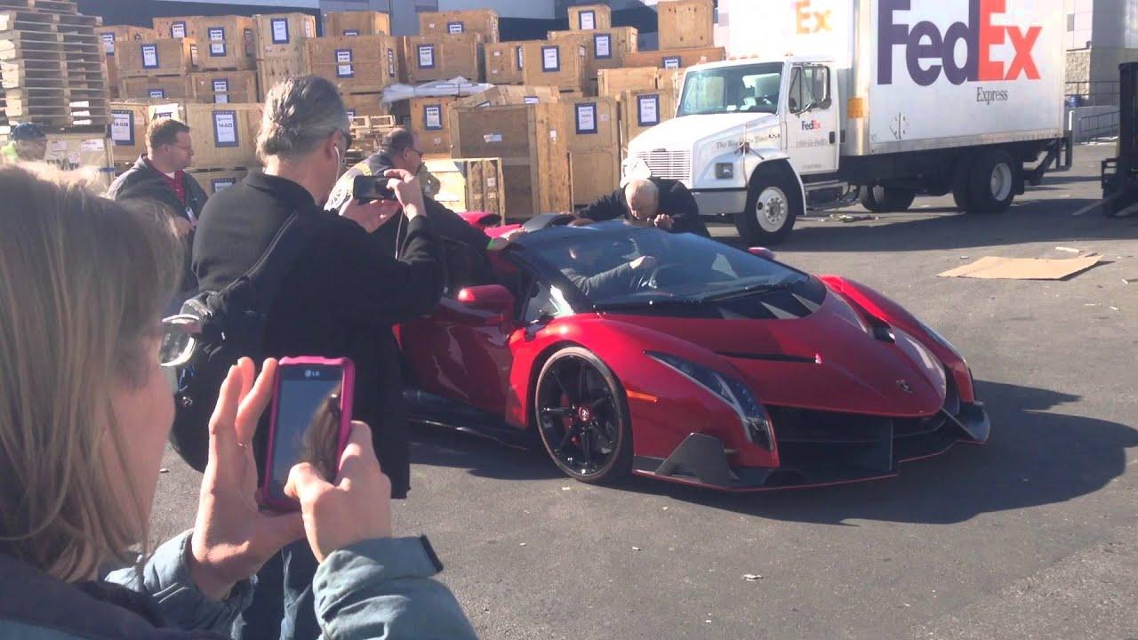 Lamborghini Las Vegas >> CES 2014 Lamborghini Veneno Roadster Driving at CES $5.0M car exhaust sound Monster Cable Las ...