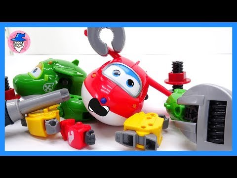 SUPER WINGS Episode, repair airplane shop,  Super wings need repair wings.!