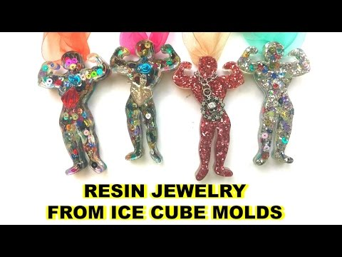 Glittered Resin Pendants from Ice Cube Trays
