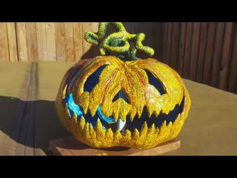 1st Halloween Project of 2018 Done ! Paper mache/clay /Jack -o-lantern.
