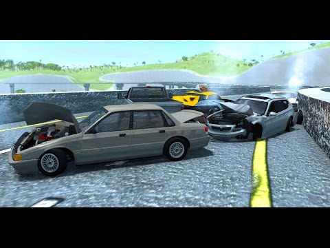 BeamNG Drive - Highway Pileups/Crashes #3 (6+ Car Pileups) •NSFG
