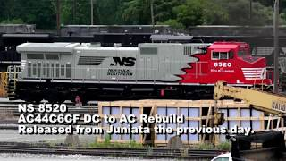 NS Pittsburgh Line Trains at Altoona (w/ NS8520 and Wrecked Locomotives)