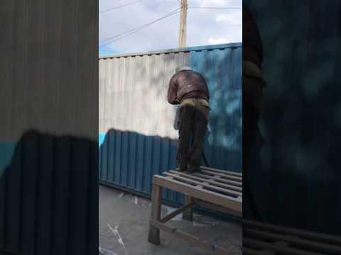 видео: Контейнер очистка от старой краски, подготовка к покраске. Пескоструй. очистка. 0504698347