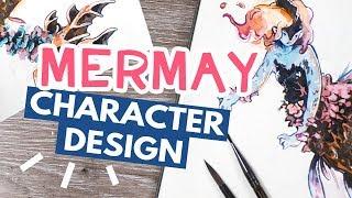 MERMAY Drawing - Lava & Coral Character Design