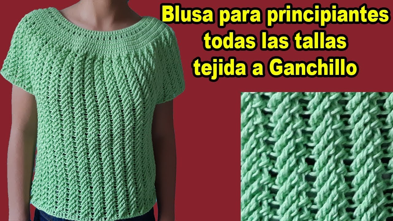 Blusa A Crochet Tejida En Punto Diagonal En Todas Las Tallas Parte 1 Subtitles In English Youtube
