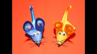 dIY Как сделать Мышку/Крысу из бумаги.Простые поделки из бумаги