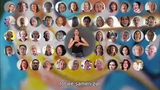 """Virtual Choir met """"We zullen doorgaan"""" met gebarentolk."""