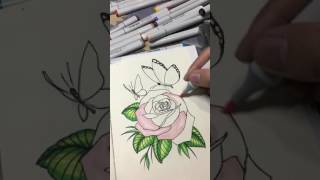 Rose on copic markers tattoo flash By Topher Palacio