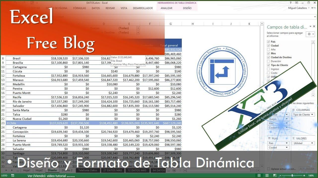 Tablas Dinámicas 06 Diseño Y Formato De Una Tabla Dinámica Y Formato Condicional Excel 2013 Youtube