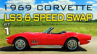 Chevrolet C3 Corvette LS Swap 6 Speed Manual Transmission Swap at V8 Speed and Resto Shop Part 1