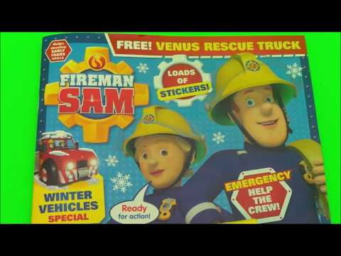 Feuerwehrmann Fireman Sam Winter Christmas Comic + Venus Fire  Rescue Truck Toy Unboxing