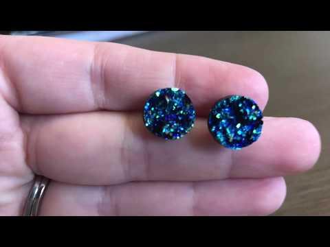 Unintenional ASMR, Making 'Druzy' Stud Earrings - No Talking & Crinkly Sounds