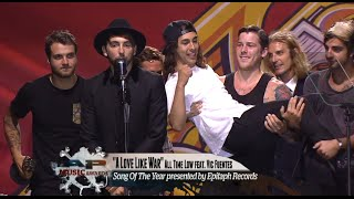 "All Time Low win the APMA for Song Of The Year for ""A Love Like War"""