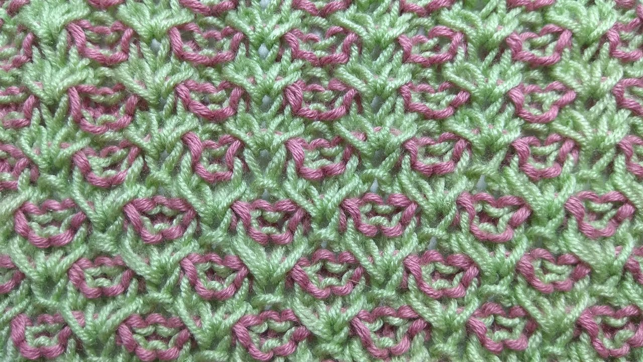 Knitting patterns *Plain of flowers* two color knitting design - YouTube