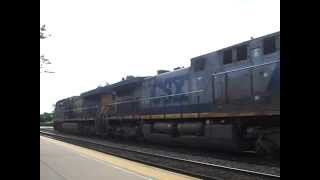 BNSF grain train with CSX power and an Illinois Terminal hopper
