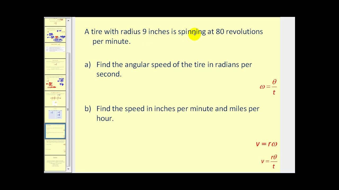 Linear Velocity And Angular Velocity Youtube