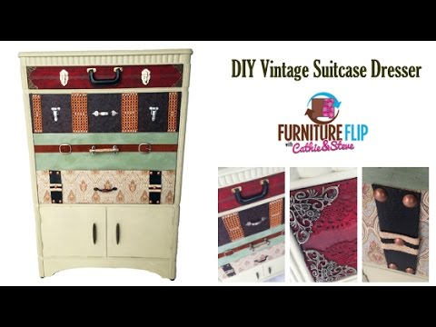 How To Make a Vintage Suitcase Dresser - YouTube