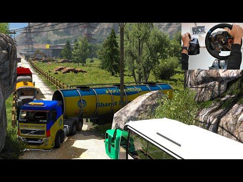 Indian Truck Driver struggling on road   Amazing driving skills   Euro truck simulator 2