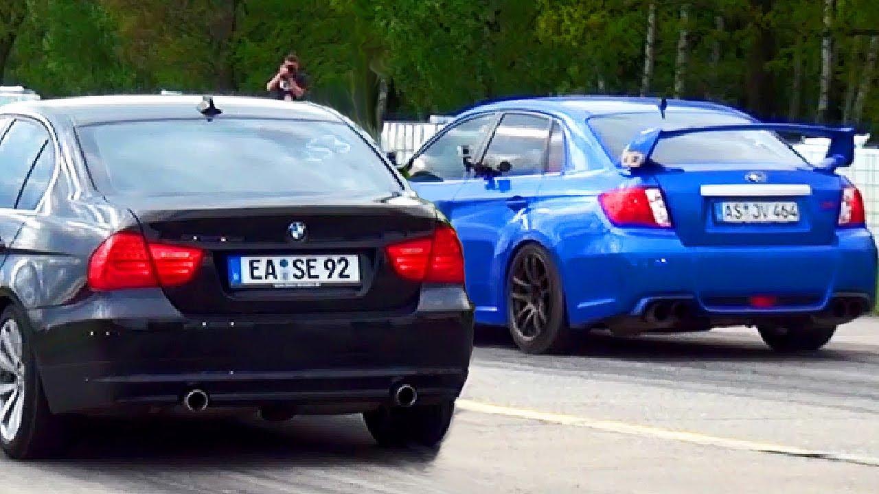 BMW 335d VS Subaru WRX STI 2013 Drag Race Viertelmeile