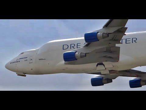 Boeing 747 LCF Dreamlifter Large Cargo Freighter (N249BA) Low Pass / Fly-By Rockford Airfest 2014