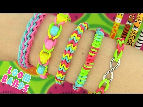 How to Make Loom Bands. 5 Easy Rainbow Loom Bracelet Designs