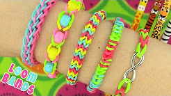 How to Make Loom Bands. 5 Easy Rainbow Loom Bracelet Designs without a Loom - Rubber band Bracelets