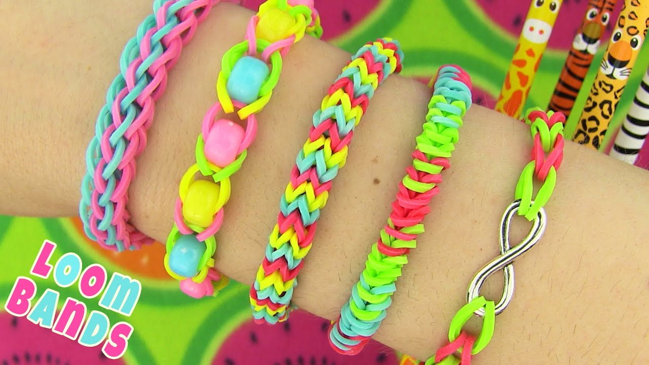 How To Make Loom Bands 5 Easy Rainbow Loom Bracelet Designs Without A Loom   Rubber Band Bracelets  Youtube