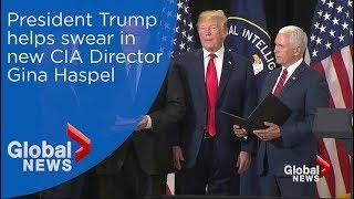 Donald Trump helps swear in new CIA Director Gina Haspel