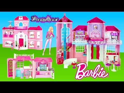 Barbie Malibu Dreamhouse + Mega Bloks Barbie Luxury Mansion +Glam Vacation House -Dollhouse tour