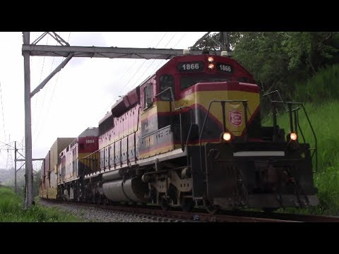 EMD SD40-2 Leads a Panama Canal Railway Stack Train at Pedro Miguel, Panama (April 28, 2017)