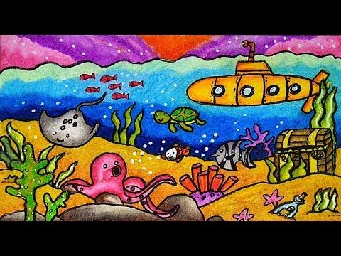Cara Menggambar Dan Mewarnai Tema Pemandangan Bawah Laut Fauna Laut Yang Bagus Mudah Untuk Pemula Youtube