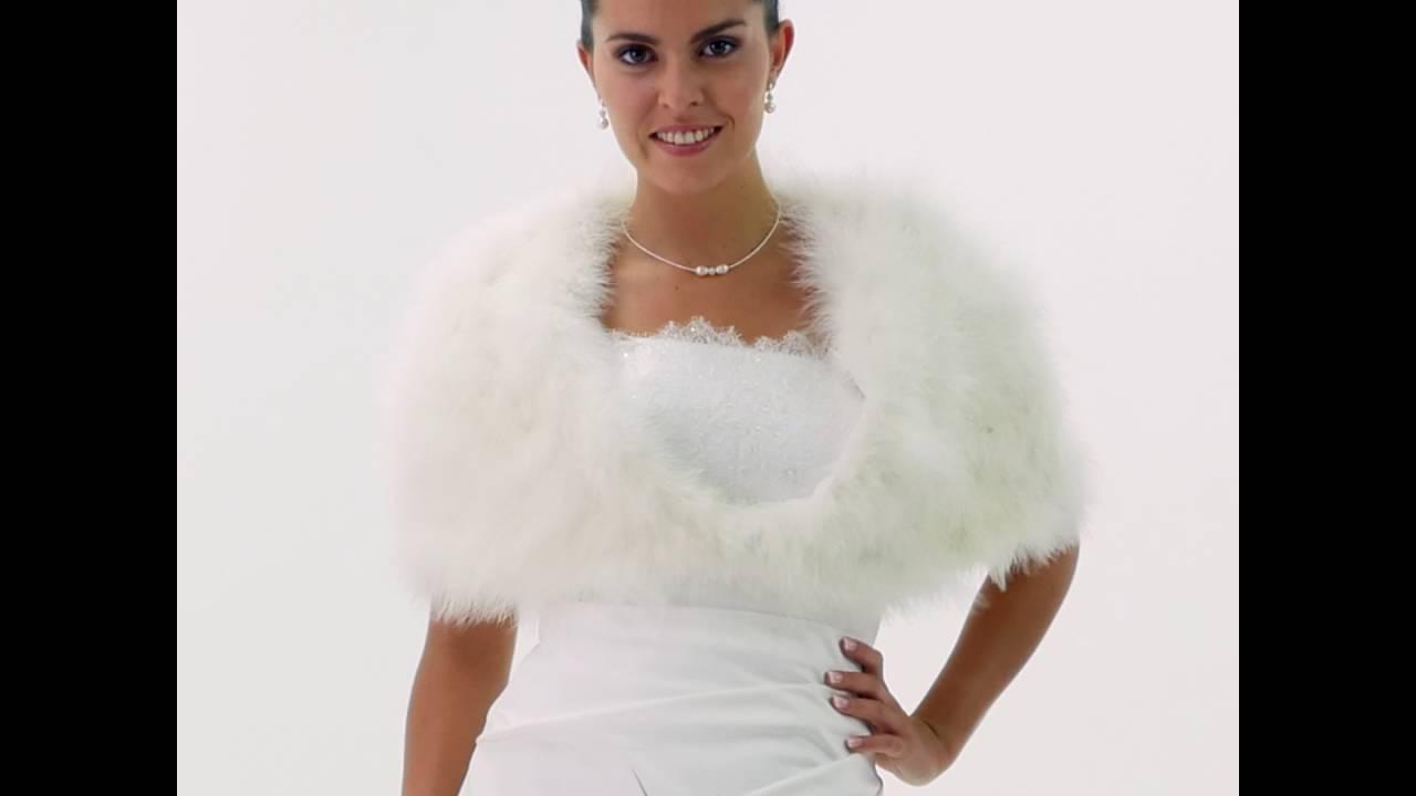 bolero cape mariage ivoire plumes marabout ilaria - Bolero Plume Mariage
