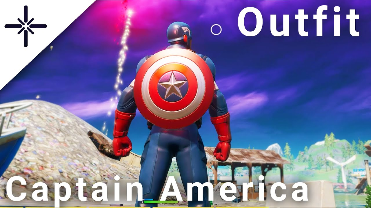"Fortnite CAPTAIN AMERICA Skin Gameplay (w ""Grand Salute"" Emote"" & his Pickaxe/Back Bling) Marvel"
