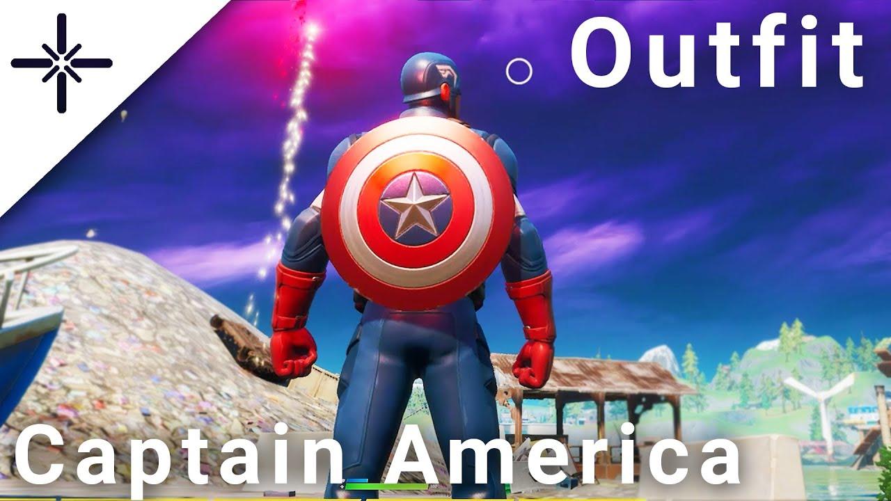 """Fortnite CAPTAIN AMERICA Skin Gameplay (w """"Grand Salute"""" Emote"""" & his Pickaxe/Back Bling) Marvel"""