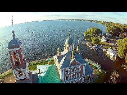 Плещеево озеро, полёт над городом Переславль-Залесский