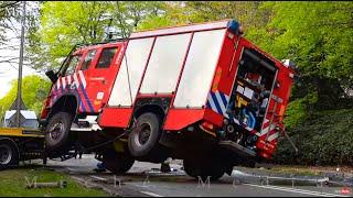 BERGING : Brandweervoertuig op zijn kant tijdens spoedrit (Volvo FM 4x4)🚒