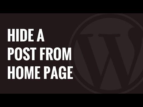 Hide post from menu wordpress