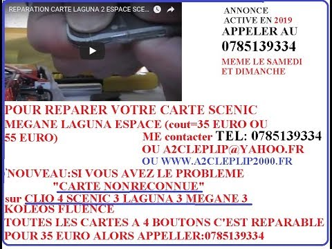 reparation carte laguna 2 espace scenic megane et ouverture de la carte youtube. Black Bedroom Furniture Sets. Home Design Ideas