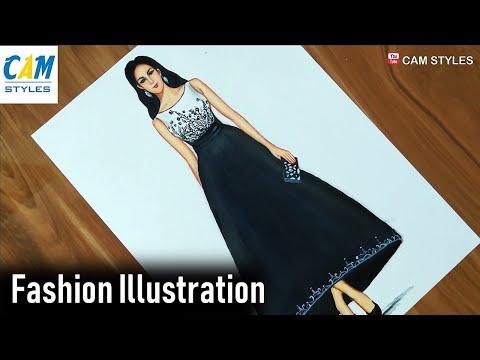 Fashion Designer Dress Sketches Black