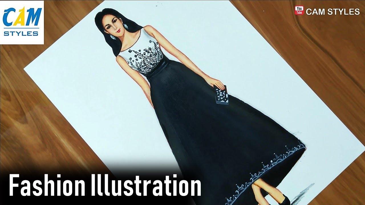 Black And White Dress Trends Fashion Fashion Design Fashion Illustration Drawing Youtube
