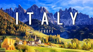 FLYING OVER ITALY (4K UHD)  Relaxing Music & Amazing Beautiful Nature Scenery For Stress Relief