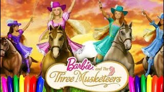 How to Color Disney Princess Barbie| Coloring Book Pages|the threee musketeers |kids Videos Learnin